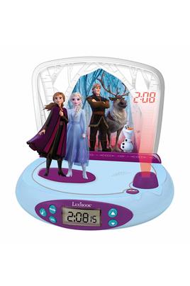 Réveil Projecteur Reine des Neiges avec Anna et Elsa en 3D et sons magiques