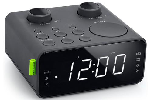 Radio réveil double alarme Tuner numérique FM - 6 stations programmables Réveil par buzzer ou sonnerie Affichage LED avec intensité réglable - Fonction Sleep / Snooze