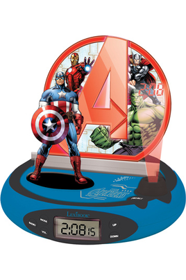"""Tuner FM - Ecran LCD Projection de l'heure au plafond Veilleuse : 4 effets sonores Design """"Avengers"""""""