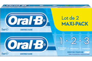 Solution dentaire Oral B PACK DENTIFRICE 1 2 3 MENTHE FRAICHE