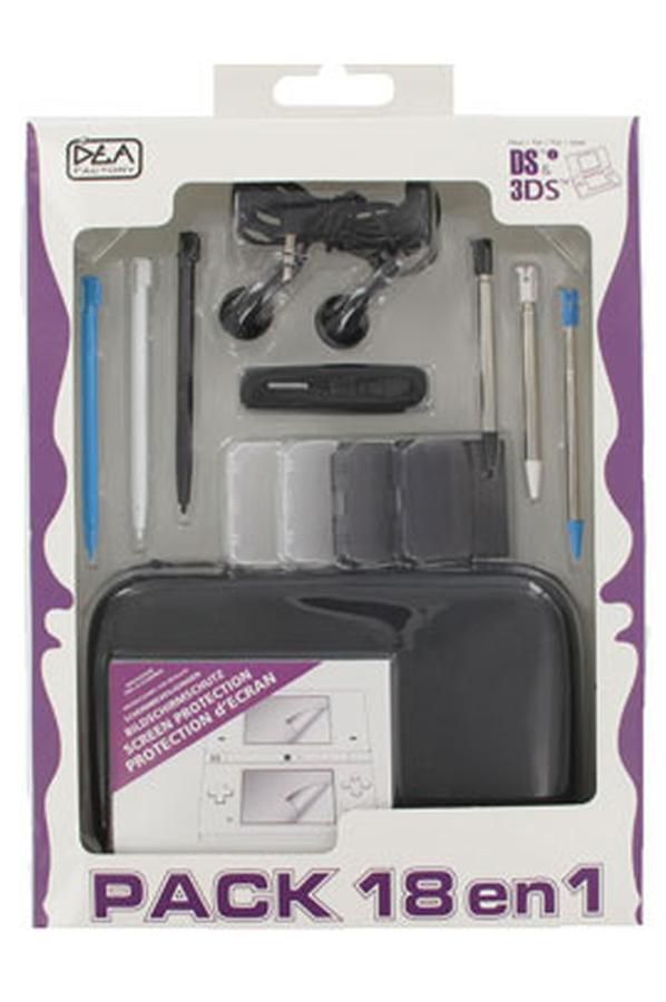 Accessoires 3ds 3dsxl dea factory pack 18 en 1 noir for Ecran noir appareil photo 3ds