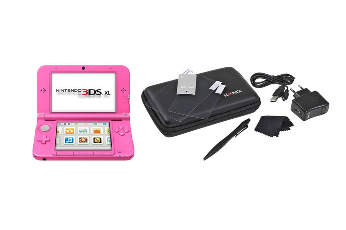Consoles 3ds nintendo 3ds xl rose starter pack 3843831 darty - Nintendo 3 ds xl console ...