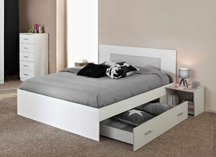 Tout le choix darty en lit de marque achat design darty - Lit 2 places blanc laque ...