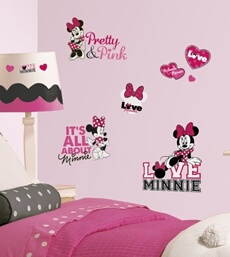 Peinture et dessin TOY ZANY MICKEY AND FRIENDS - MINNIE LOVES PINK PEEL AND STICK STICKERS MURAUX