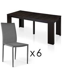 ensemble table chaise brookline wenge 6 chaises empilables modan gris menzzopremium - Table Chaise