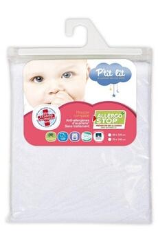 Linge de lit bébé P'TIT LIT Protège Matelas Allergo Stop 60 x 120 cm Blanc