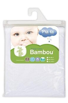 Linge de lit bébé P'TIT LIT Protège Matelas Eponge Bambou 60 x 120 cm Blanc