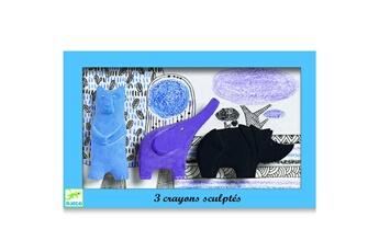Peinture et dessin Djeco Crayons sculptés : ours, éléphant, rhinocéros