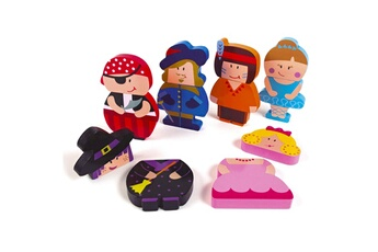 Puzzles Goula Puzzle personnages magnétiques : 12 pièces en bois