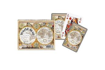 Jeux en famille Piatnik Jeu de cartes : coffret de 2 x 55 cartes : carte du monde