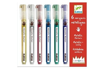 Peinture et dessin Djeco Crayons 6 marqueurs métaliques