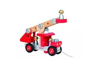 Jouets premier âge JANOD Camion de pompier à construire et à tirer