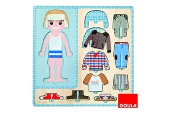 Puzzles Goula Puzzle 10 pièces en bois : petit garçon s'habille
