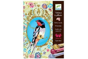 Peinture et dessin Djeco Tableaux à pailleter : Oiseaux à paillettes