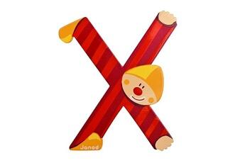 Spirale d'activité JANOD Lettre décorative clown en bois : X