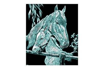 Peinture et dessin OZ INTERNATIONAL Kit carte à gratter Scraper traditionnel argenté : La jument et son poulain