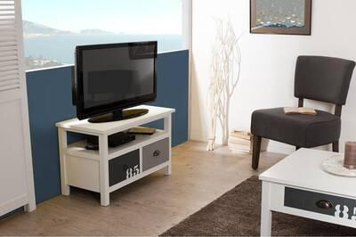 Meuble Tv Artistic Meuble Tv 2 Tiroirs Bois Blanc Et Gris
