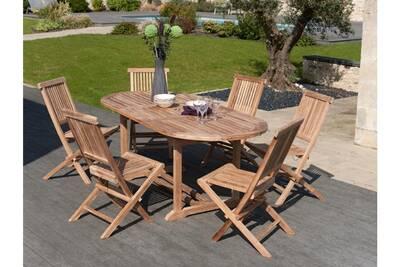 Table extensible, 6 à 8 personnes, bois, teck massif, brut