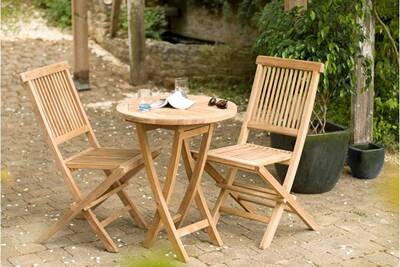 Table De Jardin Heaven Ensemble Table Ronde 2 Chaises Teck