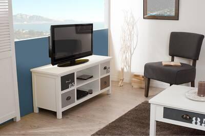 Meuble Tv Artistic Meuble Tv 4 Tiroirs Et 2 Niches Bois Blanc Et