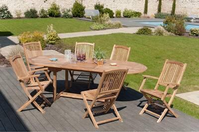Ensemble table et chaise de jardin HEAVEN Ensemble table ovale 200 x ...