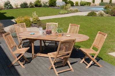 Table ovale, 10 à 12 personnes, extensible, teck massif, brut