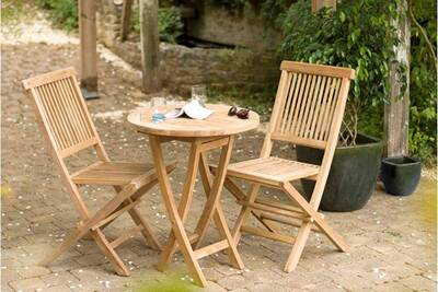 Table de jardin HEAVEN Table ronde pliante, 2 personnes, teck massif ...