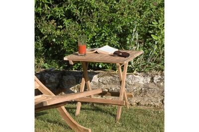 Table carrée pique-nique pliante, 2 couverts, teck massif, brut