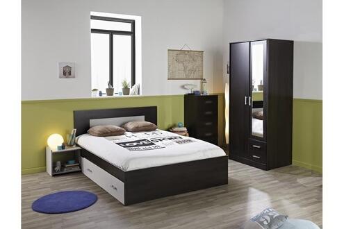 Chambre complète MEGA lit 140, chevet, armoire