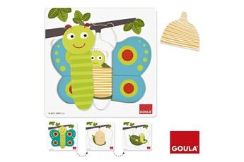 Puzzles Goula Encastrement 8 pièces en bois : puzzle 3 niveaux papillon