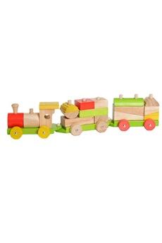 Jouets premier âge EVEREARTH Train en bois avec cubes à assembler