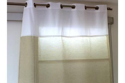 Rideaux Anthony Rideau lin avec parement à oeillets écru ant coeur ...
