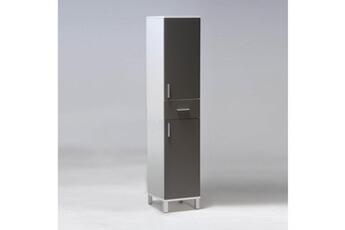meuble salle de bain meuble de rangement r 2 portes 1 tiroir gris - Meuble Tiroirs Rangement Salle De Bain