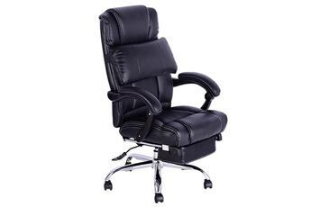 4af59a2ff10c9 Fauteuil Fauteuil de bureau manager chaise de bureau grand confort avec  repose-pieds noir HOMCOM