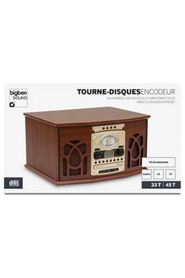 interface audio big ben interactive tourne disques 2vitesses 45 et 33 tours en bois radio cd k7. Black Bedroom Furniture Sets. Home Design Ideas