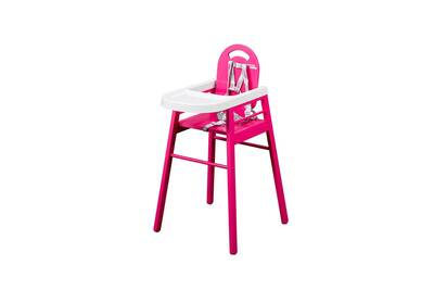 Chaise Haute COMBELLE Simple Pour Bebe En Bois Rose Fushia Fabrication Francaise