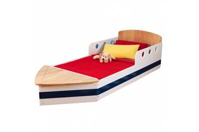 lit enfant kidkraft lit en bois b teau 70 x 140 cm avec coffre jouets darty. Black Bedroom Furniture Sets. Home Design Ideas