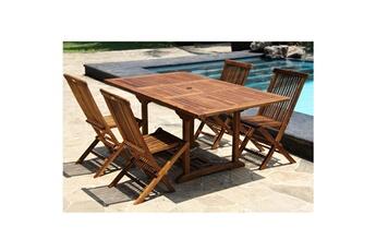 ensemble table et chaise de jardin salon de jardin en bois de teck huil 4 - Ensemble Table De Jardin Et Chaises