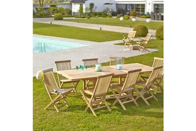 Salon de jardin en bois de teck brut qualite premium 8/10 pers - table  rectangulaire 180/240cm + 8 chaises