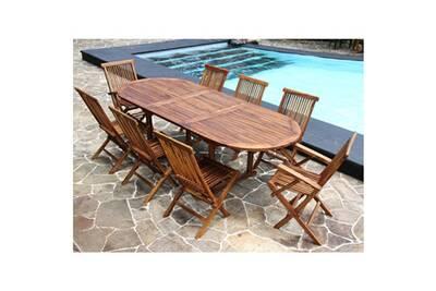 Salon de jardin en bois de teck huilé 8/10 pers table larg 100cm 6 chaises  2 fauteuils
