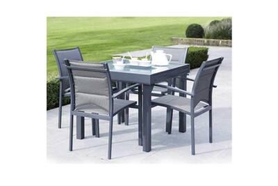 Ensemble Table Et Chaise De Jardin Wilsa Chaises MODULO 4 PLACES GRIS
