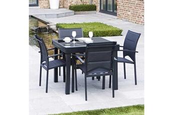 ensemble table et chaise de jardin ensemble de jardin modulo noir 4 places wilsa - Table Et Chaise De Jardin
