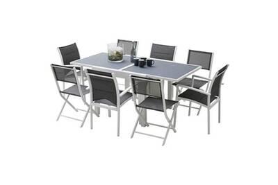Ensemble table et chaises de jardin MODULO 8 PLACES BLANC/GRIS PERLE