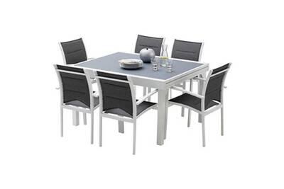 Ensemble table et chaises de jardin MODULO 6 PLACES BLANC/GRIS PERLE