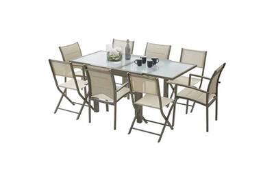 Ensemble table et chaises de jardin MODULO 8 PLACES TAUPE