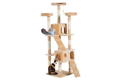 Arbre à chat griffoir deux niches dimension 50 x 50 x170 cm beige -