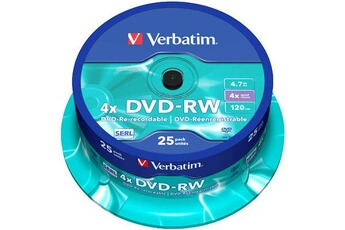 CD / DVD / Blu Ray Verbatim DVD RW Data/Video, 4x certifié, 25