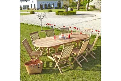 Salon de jardin en bois de teck brut qualite premium 8/10 pers - table  ovale 180/240cm + 8 chaises