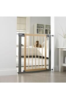 Barrière de sécurité bébé LINDAM Barrière de sécurité de porte sure Shut Deco bois et silver
