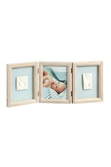 Cadeau Naissance BABY ART Cadre photo 3 volets avec 2 empreintes My baby touch bois cérusé